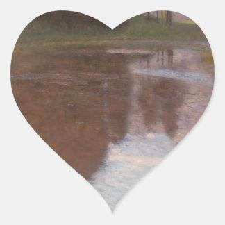 Calm pond heart sticker
