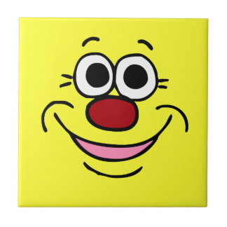 Calm Smiley Face Grumpey Ceramic Tile