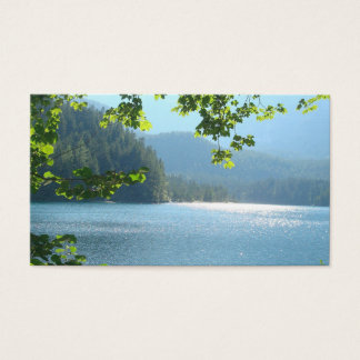 Calm water lake in forests business card
