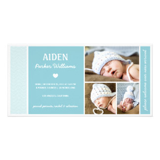 CALM WAVES | BABY BOY BIRTH ANNOUNCEMENT PERSONALIZED PHOTO CARD