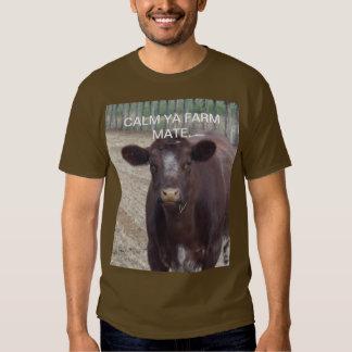 Calm_Ya_Farm_Mate,_Brown_Aussie_Humour_Tshirt. T Shirt