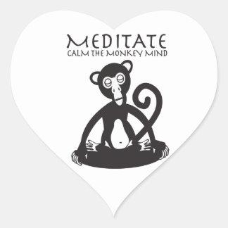 Calm your monkey mind heart sticker