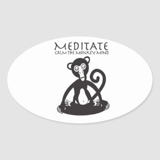 Calm your monkey mind oval sticker