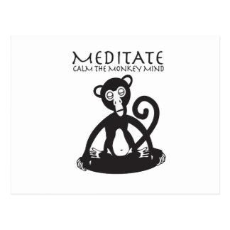 Calm your monkey mind postcard
