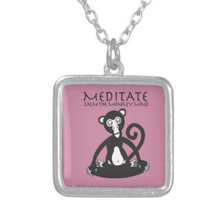 Calm your monkey mind silver plated necklace
