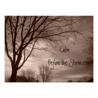 Calma antes de la imagen de la lona de la tormenta póster