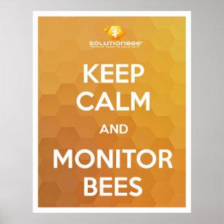 Calma de la estancia y abejas del monitor póster