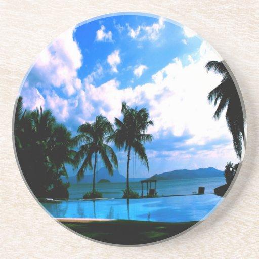 calma de la paz del mar de la palma posavasos para bebidas