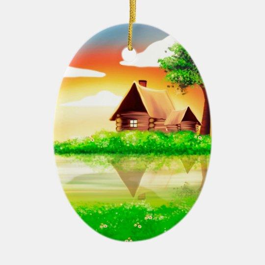 calma fabulosa de la paz de la casa adorno navideño ovalado de cerámica