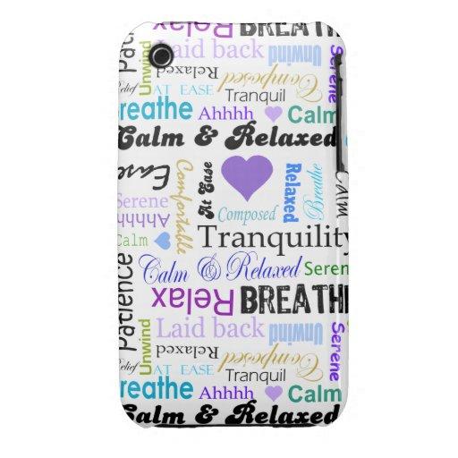 Calma y tipografía de relajación de las palabras d iPhone 3 Case-Mate coberturas
