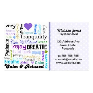 Calma y tipografía de relajación de las palabras d tarjetas de visita