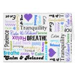Calma y tipografía de relajación de las palabras d tarjeta de felicitación