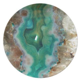 Calmar la piedra mineral cristalina verde y blanca plato de cena