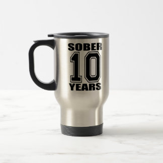 Calme 10 años de negro en blanco taza térmica