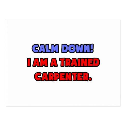 Calme abajo. Soy carpintero entrenado Postal