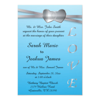 Calming Blue and Silver Wedding Love Hearts Card