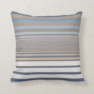 Calming Blue and Tan Gradient Stripes Throw Pillow