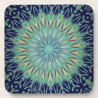 Calming Blue Green Mandala Pattern Drink Coaster