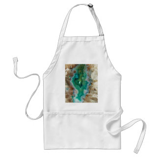 Calming Green and White Crystal Mineral Stone Adult Apron