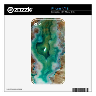 Calming Green and White Crystal Mineral Stone Skin For iPhone 4