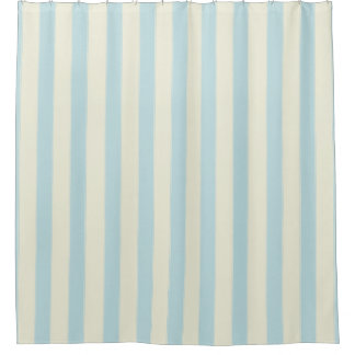 Calming Pale Blue And White Wide Vertical Stripes Shower Curtain