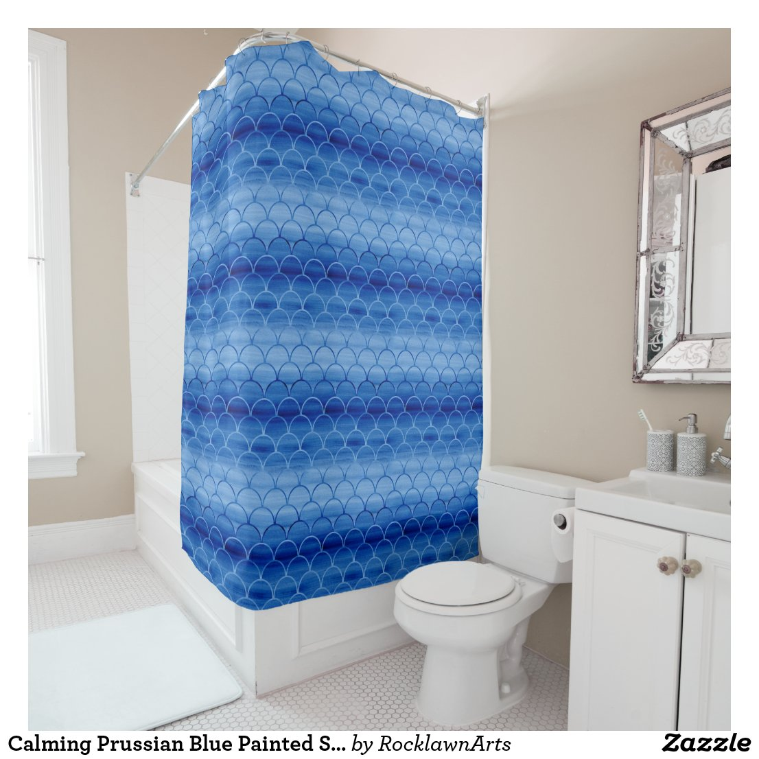 Calming Prussian Blue Painted Scale Pattern Shower Curtain