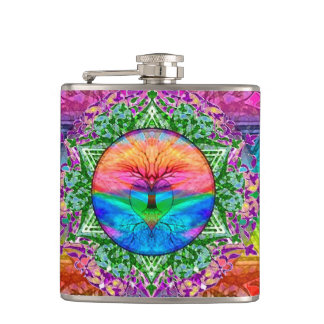 Calming Tree of Life in Rainbow Colors Flask