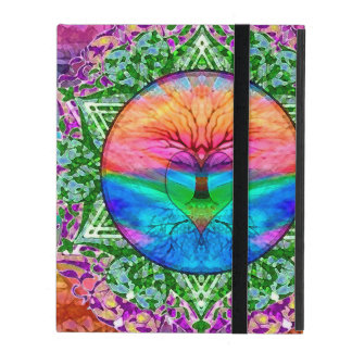 Calming Tree of Life in Rainbow Colors iPad Folio Case
