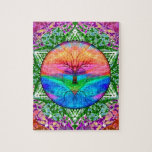 "Calming Tree of Life in Rainbow Colors Jigsaw Puzzle<br><div class=""desc"">A calming and pretty looking tree of life in rainbow colors with a heart at the center. Very modern and interesting looking. Makes a nice positive gift for yourself or someone you care about.</div>"