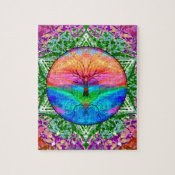 Calming Tree of Life in Rainbow Colors Jigsaw Puzzle (<em>$17.90</em>)