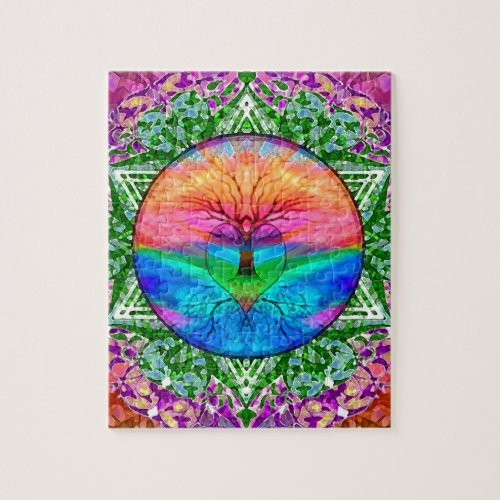 Calming Tree of Life in Rainbow Colors Jigsaw Puzzle
