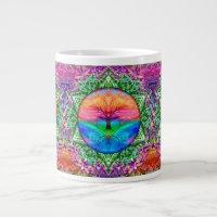 Calming Tree of Life in Rainbow Colors Large Coffee Mug