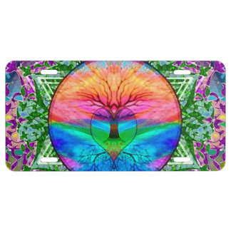 Calming Tree of Life in Rainbow Colors License Plate