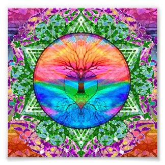 Calming Tree of Life in Rainbow Colors Photo Art