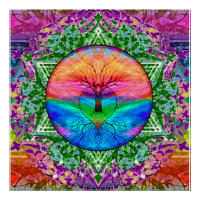 Calming Tree of Life in Rainbow Colors Poster
