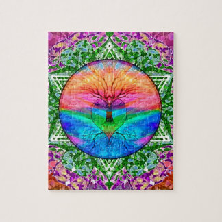 Calming Tree of Life in Rainbow Colors Jigsaw Puzzles