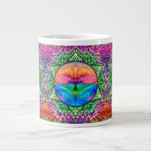 Calming Tree of Life in Rainbow Colors Extra Large Mugs
