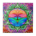 Calming Tree of Life in Rainbow Colors Tile (<em>$13.70</em>)