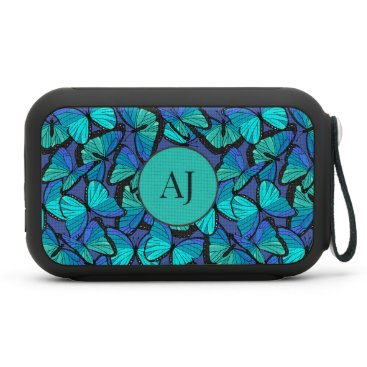 Calming Tropical Blue Morpho Butterflies Monogram Bluetooth Speaker