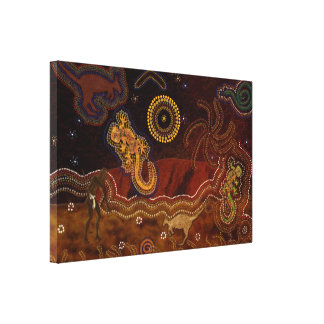 Calor aborigen australiano y fauna del desierto impresión en lienzo