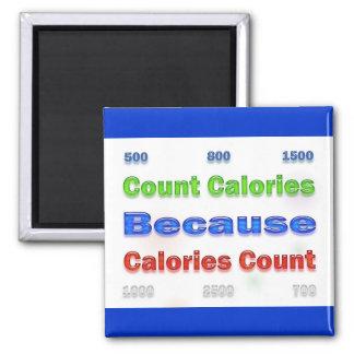 Calorías de la cuenta de la pérdida de la dieta y  imán cuadrado