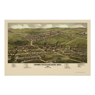 Calumet and Red Jacket, MI Panoramic Map - 1881 Poster