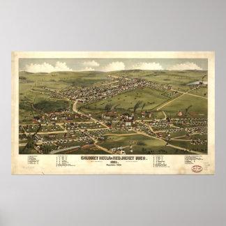 Calumet Michigan 1881 Antique Panoramic Map Poster