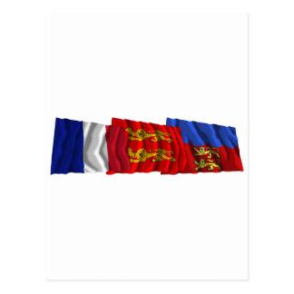 Calvados, Basse-Normandie & France flags Postcard