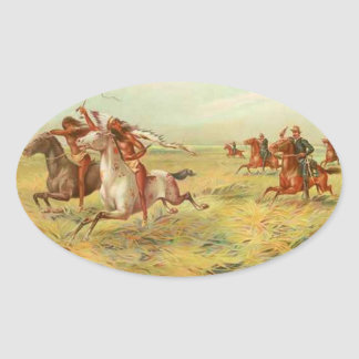 Calvary and Indians Oval Sticker