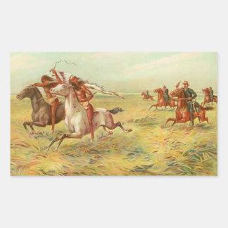 Calvary and Indians Rectangular Sticker