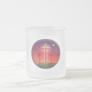 Calvary art products frosted glass coffee mug