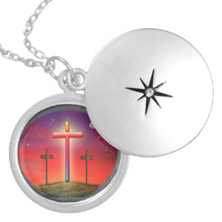 Calvary art products round locket necklace