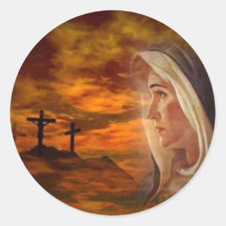 Calvary bendecido del Virgen María Pegatina Redonda