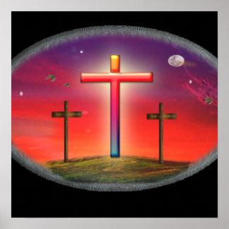 Calvary cross christian poster